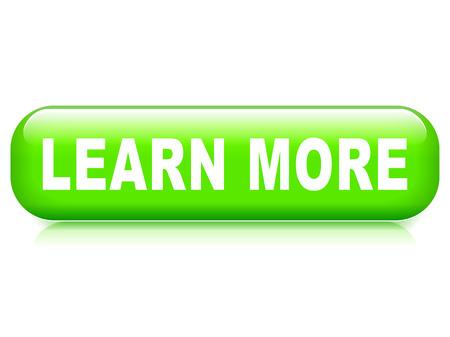 Ilustración de botón de aprender más sobre fondo blanco