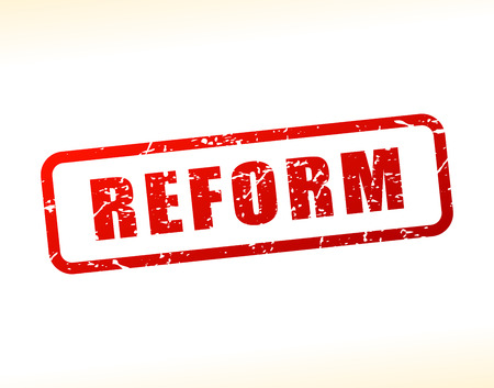 Illustration of reform text buffered on white background Illustration