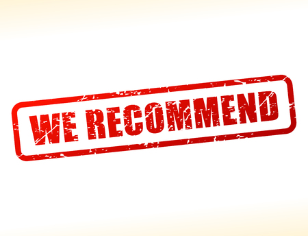 we recommend: Illustration of we recommend text buffered on white background