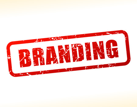 branded product: Illustration of branding text buffered on white background