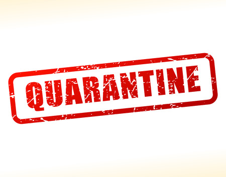 quarantine: Illustration of quarantine text buffered on white background