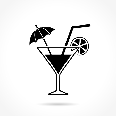 Illustration of cocktail icon on white background