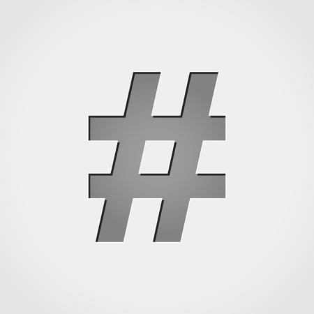metadata: Illustration of hashtag grey icon Illustration