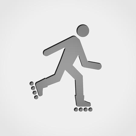 rulos: Ilustración de rollerskate gris icono