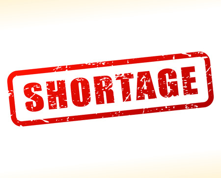 Illustration of shortage red text stamp Illustration
