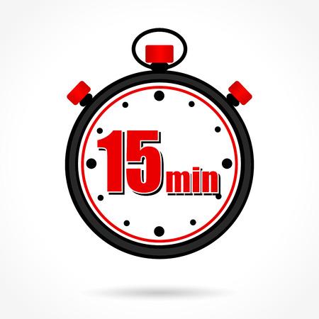 Illustratie van vijftien minuten stopwatch op witte achtergrond Stock Illustratie