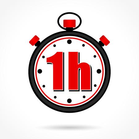Illustration d'un chronomètre d'une heure sur fond blanc
