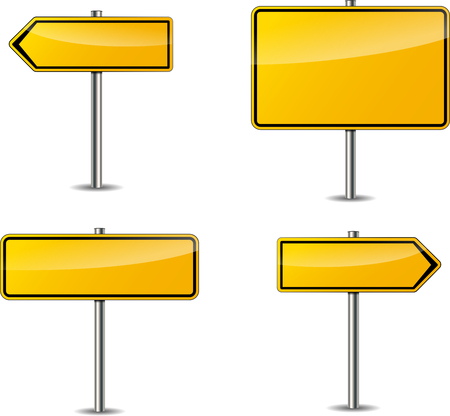 Illustration of four yellow blank signs
