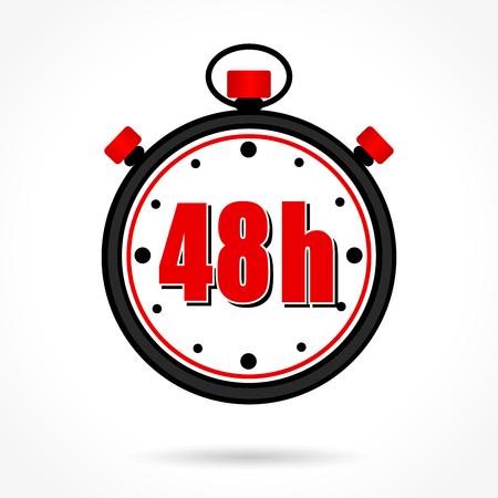 Un'illustrazione di quaranta otto ore cronometro su priorità bassa bianca
