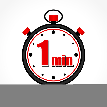 Illustration of one minute stopwatch on white background Illustration