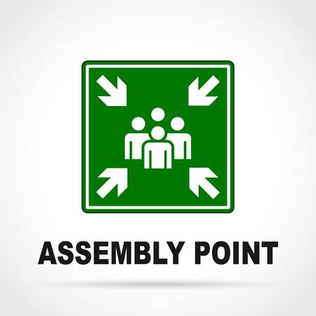 Illustratie van verzamelpunt groen teken