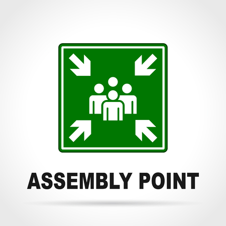 Illustration of assembly point green sign