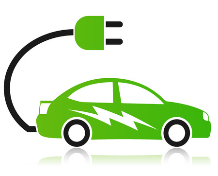 Illustration of electric car concept on white background