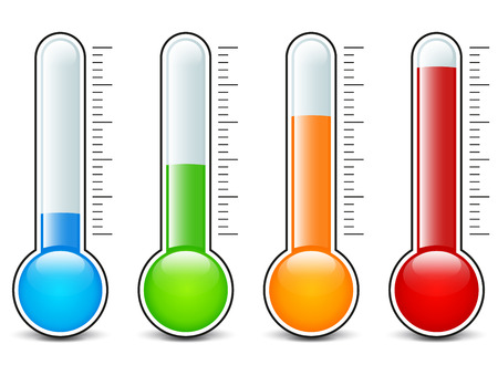Illustration of four thermometers icons design