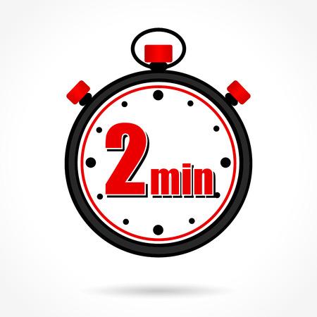 Illustration of two minutes stopwatch on white background Vektoros illusztráció