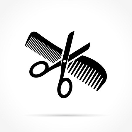 barbershop: Illustration of scissors and comb icon