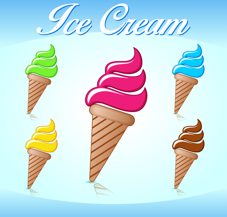 Illustration of five ice cream cones