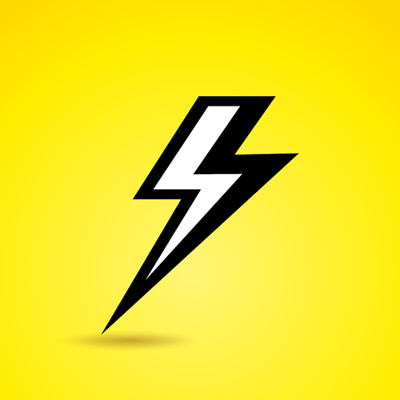 Illustration of thunder icon on yellow background Illustration