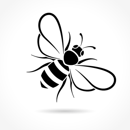 Illustration of bee icon on white background