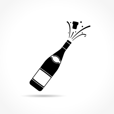 popping cork: Illustration of champagne bottle explosion icon