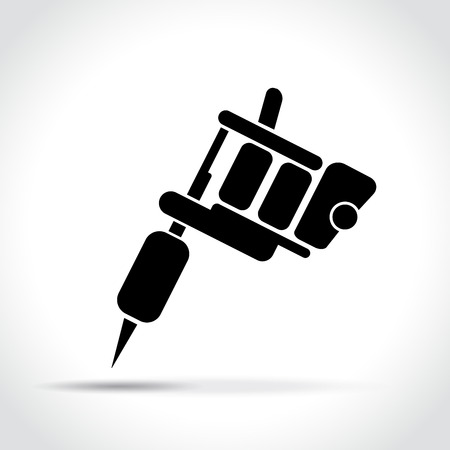 Illustration of tattoo machine on white background