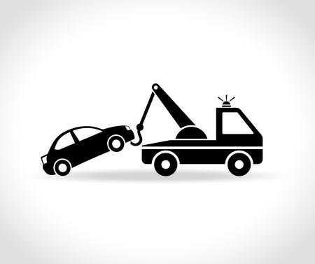 Illustratie van het pictogram van de slepensvrachtwagen op witte achtergrond Stock Illustratie