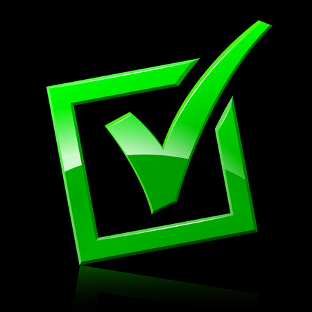 Illustration of green checkmark on black background Reklamní fotografie - 82185876
