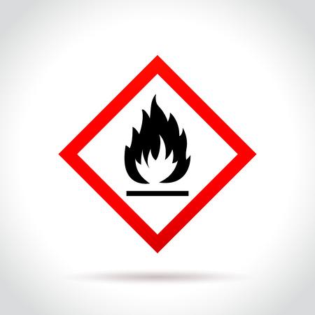 Illustratie van brandbaar pictogram op witte achtergrond Stock Illustratie