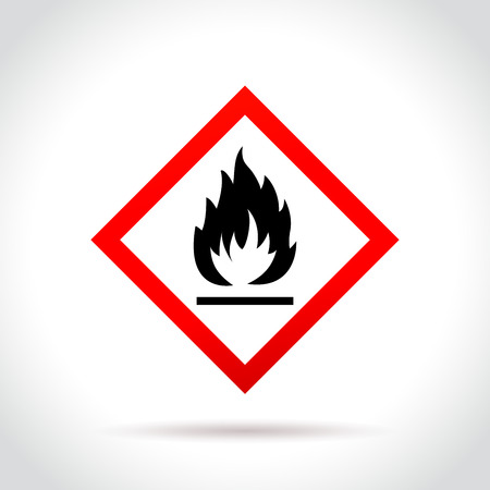 Illustration of flammable icon on white background