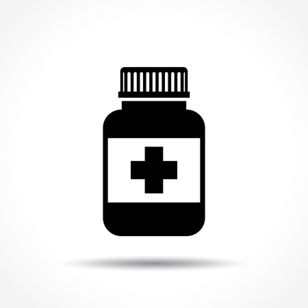 Illustration of medical bottle icon on white background Illustration