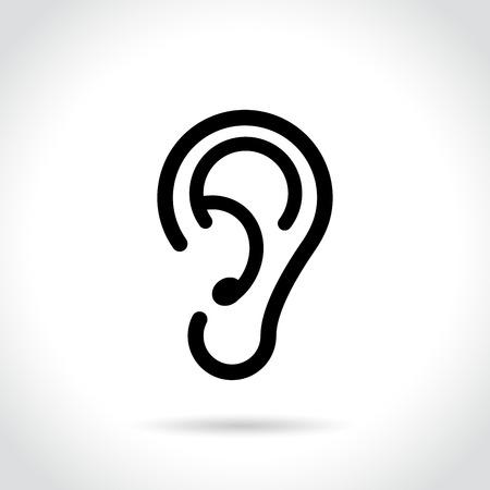 Illustration of ear icon on white background