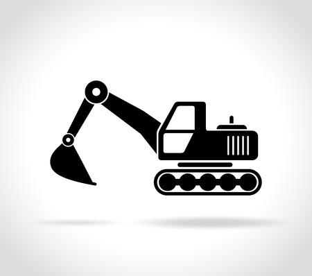 白い背景の上の掘削機のアイコンの図