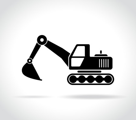 Illustration of excavator icon on white background Фото со стока - 82659884