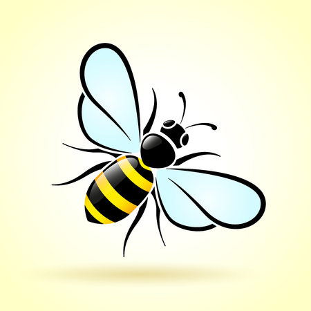 Illustration of bee on white background  イラスト・ベクター素材