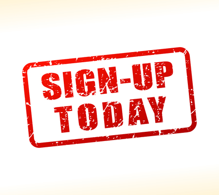 Illustration of sign up today text buffered on white background