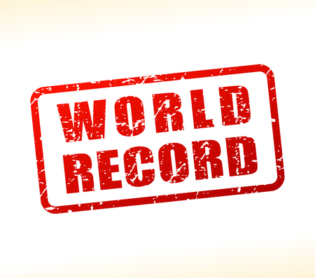Illustration of world record text buffered on white background