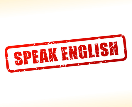 Illustration of speak english text buffered on white background
