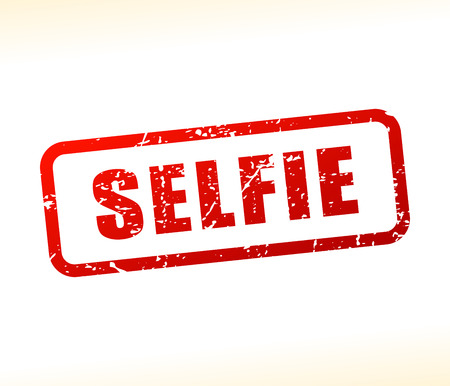 Illustration of selfie text buffered on white background