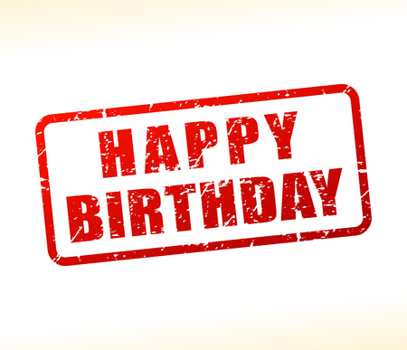 Illustration of happy birthday text buffered on white background