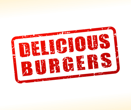 Illustration of delicious burgers text buffered on white background