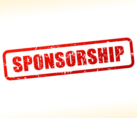 Illustration of sponsorship text buffered on white background Çizim