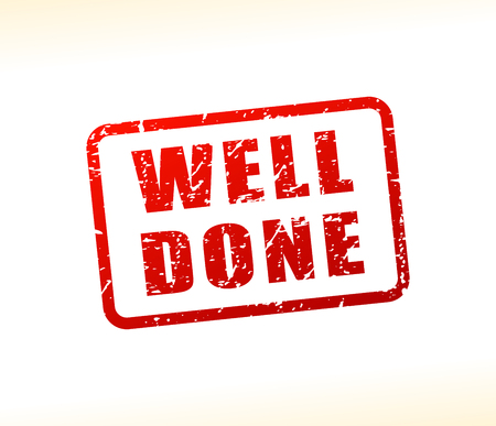 Illustration of well done text buffered on white background