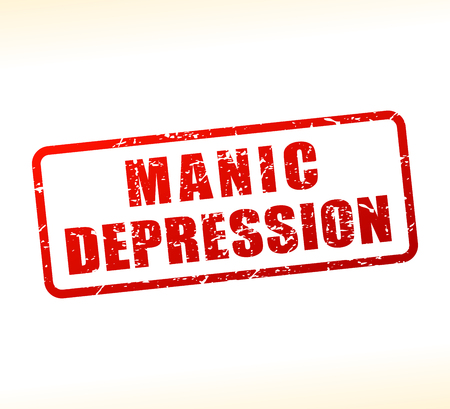 Illustration of manic depression text buffered on white background