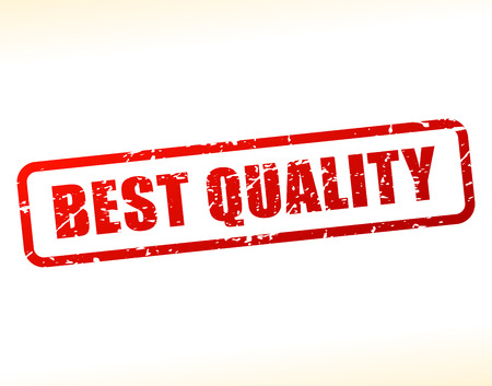 Illustration of best quality text buffered on white background