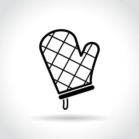 Illustration of oven glove icon on white Illustration