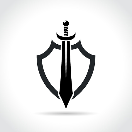 Illustration of shield and sword icon on white background
