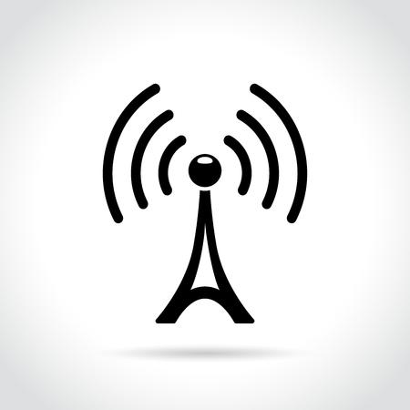 白い背景の上の放送塔のアイコンの図  イラスト・ベクター素材