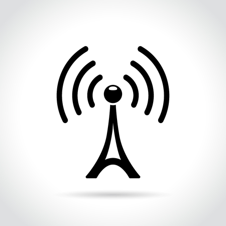 Illustration of broadcast tower icon on white background