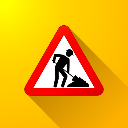 Illustration of roadwork sign on yellow background