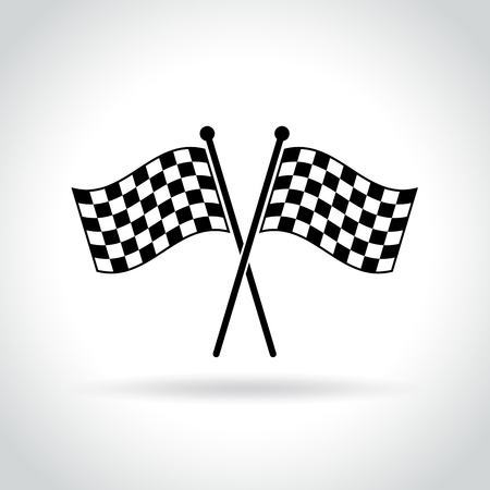 Illustration of checkered flags icon on white background